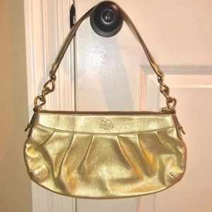 Authentic Coach Gold Leather Madison Hobo #13330